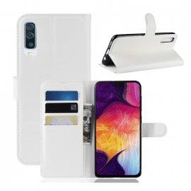 Funda Libro Samsung Galaxy A70 cuero Soporte Blanco