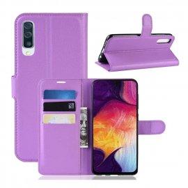 Funda Libro Samsung Galaxy A70 cuero Soporte Lila