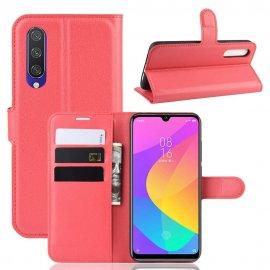 Funda Libro Xiaomi MI 9 Lite cuero Soporte Rojo