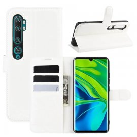 Funda Libro Xiaomi MI Note 10 cuero Soporte Blanca