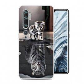 Funda Xiaomi MI Note 10 Gel Dibujo Gato espejo