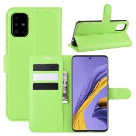Funda Libro Samsung Galaxy A51 cuero Soporte Verde