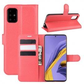 Funda Cuero Samsung Galaxy A51 Libro Soporte Roja