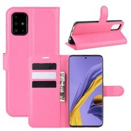 Funda Cuero Samsung Galaxy A51 Libro Soporte Rosa