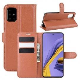 Funda Cuero Samsung Galaxy A51 Libro Soporte Marron