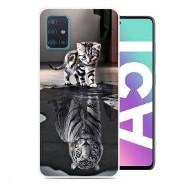 Funda Samsung Galaxy A51 TPU Dibujo Gato y Tigre