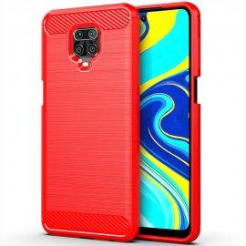 Funda Xiaomi Redmi Note 9 PRO TPU Carbono 3D roja