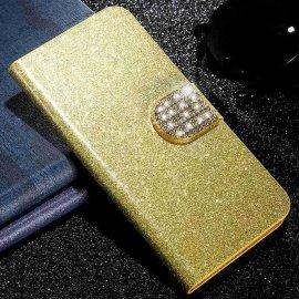 Funda Libro Xiaomi Redmi Note 9 Pro Bling Dorada Diamantes