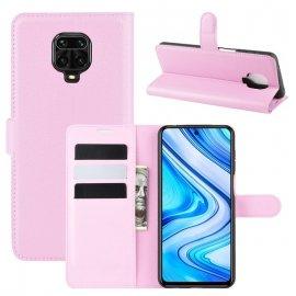 Funda Libro Xiaomi Redmi Note 9 Pro Cuero Rosa