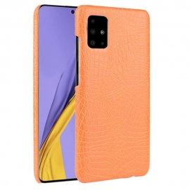 Carcasa Samsung Galaxy A51 Cuero Estilo Croco Naranja