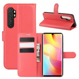 Funda Cartera Xiaomi Mi Note 10 Lite Estuche Cuero Roja