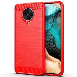 Funda Xiaomi Pocophone F2 Pro Carbono 3D Roja Tpu