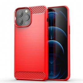Funda iPhone 13 Pro o Pro Max textura Carbono Roja