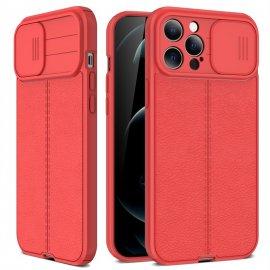 Funda iPhone 13 Pro o Pro Max Silicona cuero Roja