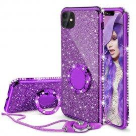 Funda Bling iPhone 13 Pro o Pro Max diamante Morada