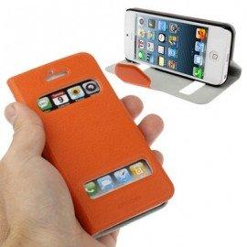 Funda Iphone 5 cuero Orca Soporte Naranja