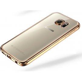Funda Galaxy A5 2017 Gel Transparente con bordes Dorados