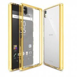 Funda Sony Xperia XA Gel Transparente con bordes Dorados