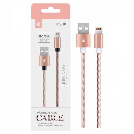 Cable Lightning para Iphone 2A 1 metro Rosa
