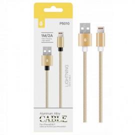 Cable Lightning para Iphone 2A 1 metro Dorado