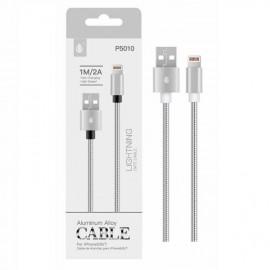 Cable Lightning para Iphone 2A 1 metro Plateado