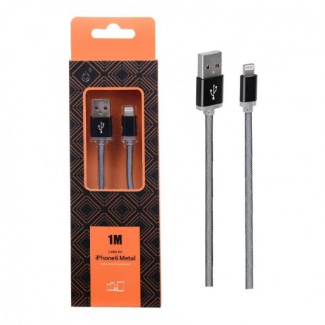 Cable Lightning metal Iphone 2A 1 metro Negro