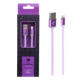 Cable Lightning metal Iphone 2A 1 metro Violeta