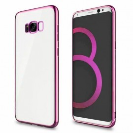 Funda Gel Galaxy S8 con bordes Cromados Rosa
