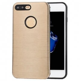 Carcasa iPhone 7 Plus Hybrid AntiGolpes Dorada Metal y Gel