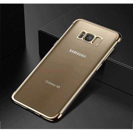 Funda Gel Galaxy S8 con Esquinas Cromados Dorada