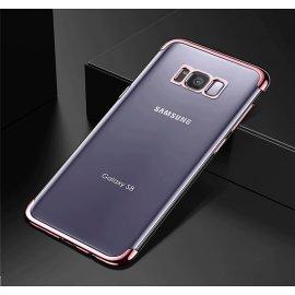 Funda Gel Galaxy S8 con Esquinas Cromados Rosa