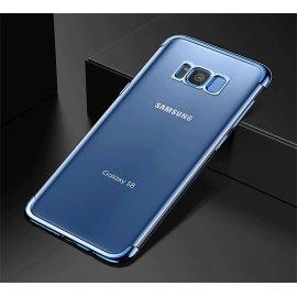Funda Gel Galaxy S8 Plus con Esquinas Cromados Azul