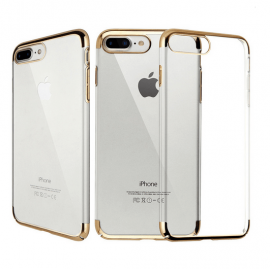 Funda Gel iPhone 7 Plus con Esquinas Oro