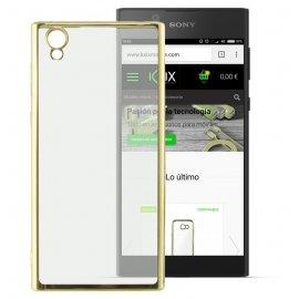 Funda Gel Sony Xperia L1 con bordes Cromados Dorada