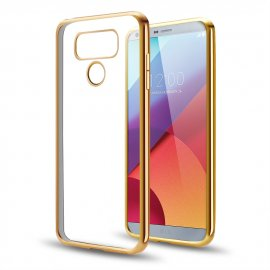 Funda Gel LG G6 con bordes Cromados Dorada