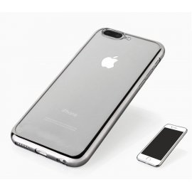 Funda Flexible Iphone 8 Plus Gel con bordes Cromados Gris