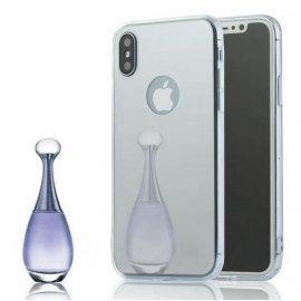 Funda Gel Iphone X Espejo Plateada