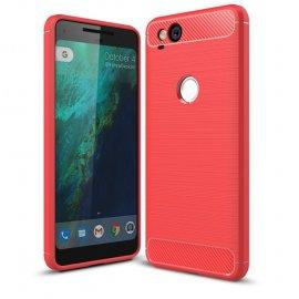 Funda Google Pixel 2 Gel Hybrida Cepillada Roja