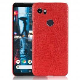 Carcasa Google Pixel 2 XL Cuero Estilo Croco Roja