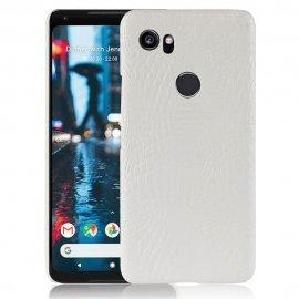 Carcasa Google Pixel 2 XL Cuero Estilo Croco Blanca