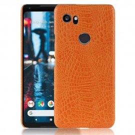 Carcasa Google Pixel 2 XL Cuero Estilo Croco Naranja