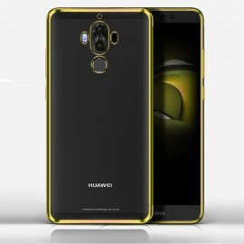 Funda Huawei Mate 10 Pro Gel Transparente con bordes Oro