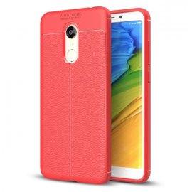 Funda Xiaomi Redmi 5 Plus Tpu Cuero 3D Roja