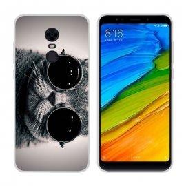Funda Xiaomi Redmi 5 Plus Gel Dibujo Gato con Gafas