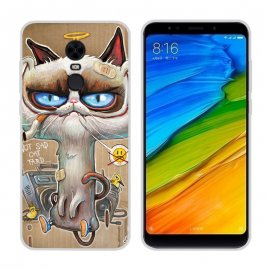 Funda Xiaomi Redmi 5 Plus Gel Dibujo Gato Feo