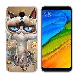 Funda Xiaomi Redmi 5 Gel Dibujo Gato Feo