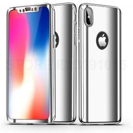 Funda Iphone X Aluminio 360 Completa Gris Plata
