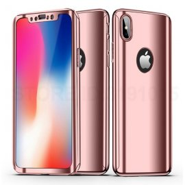 Funda Iphone X Aluminio 360 Completa Oro Rosa