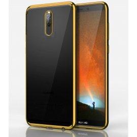 Funda Huawei Mate 10 Gel Lite Transparente con bordes Dorados