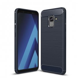 Funda Samsung Galaxy A8 2018 Gel Hybrida Cepillada Azul